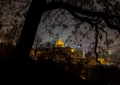 noční město z parku